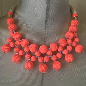 Stella Dot neon pink beaded bib necklace New